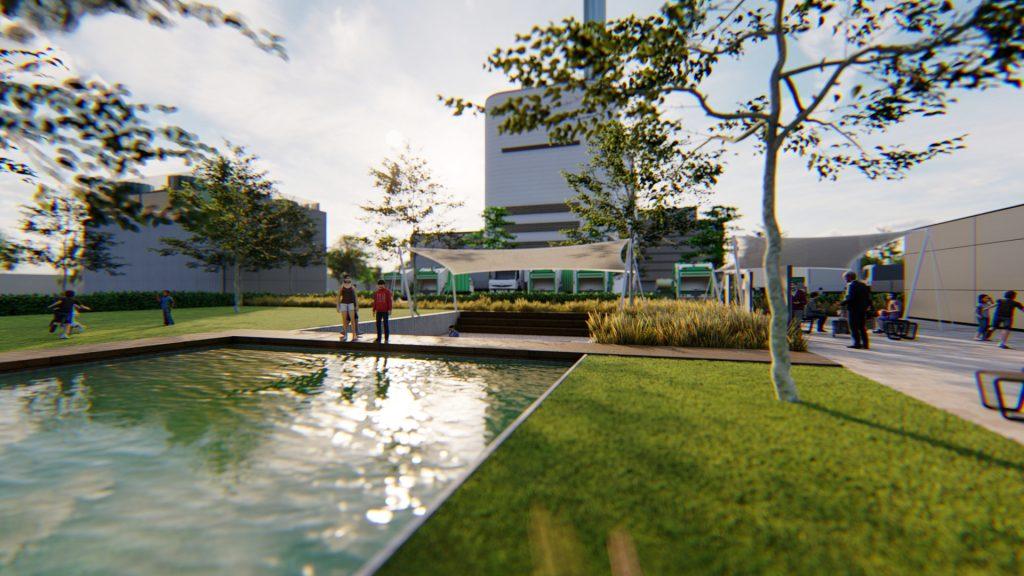 Súčasťou areálu CCE bude aj verejný parčík s vodnou plochou