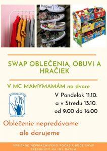 SWAP oblečenia, obuvi a hračiek @ Materské centrum Mamymamám